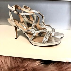 Strappy Silver Heels with Rhinestones